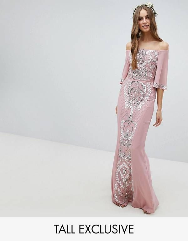Maya Tall All Over Embellished Bardot Maxi Bridesmaid Dress With