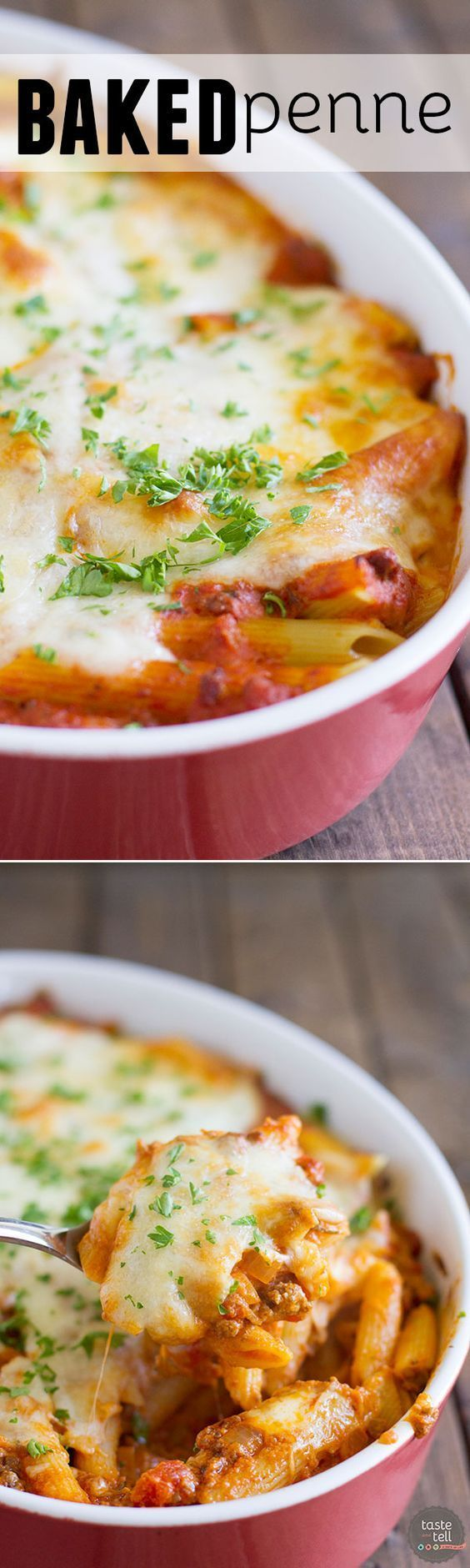 Pure comfort food, this Baked Penne has a meaty, creamy sauce and lots and lots of cheese.
