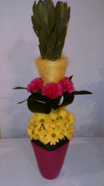 Tall centerpiece - Leucadendron, Dianthus, Chrysanthemum