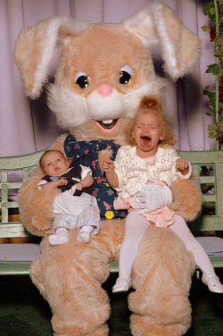 So glad mom never took me to have my picture taken with the Easter bunny.. Lol I'm glad I got to enjoy Easter baskets when I was little.