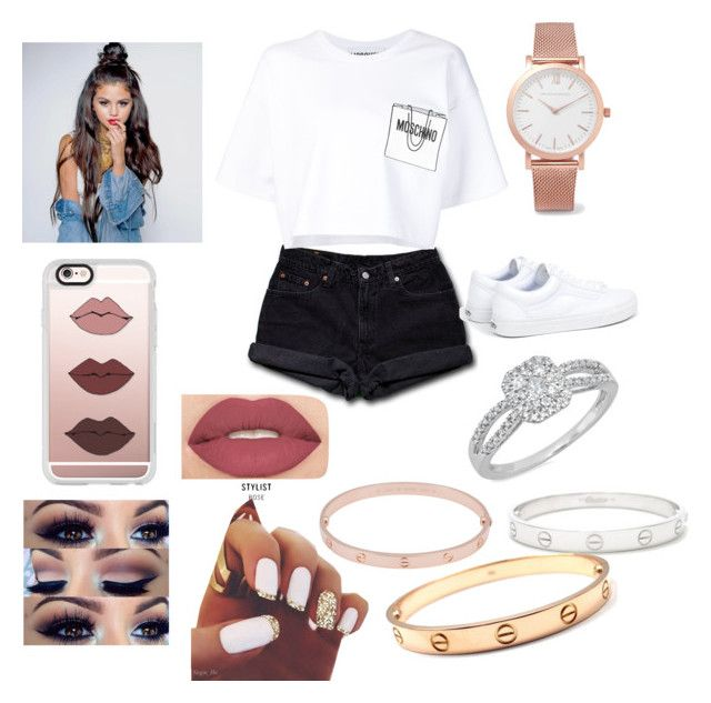 """Fusion "" by tumblrcake on Polyvore featuring Levi's, Moschino, Vans, Larsson & Jennings, Casetify, Smashbox, Kevin Jewelers and Cartier"