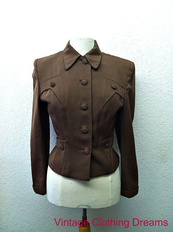 40s 1940s Jacket Coat Brown Ladies Womans 1940 Forties WW2 Wasp Waist Military