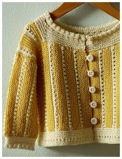 PATTERN: Liza Sideways Saque by Kristin Rengren from the book Vintage Baby Knits: More Than 40 Heirloom Patterns from the 1920s to the 1950s  SIZE: 18-24 months  YARN: Louet Gems Fingering in Goldilocks and Cream