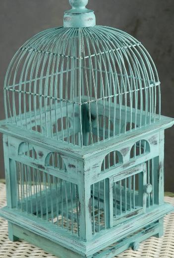 Tiffany Blue Handcrafted Teak Bird Cage