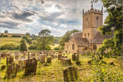 Poster Kirche und Friedhof von Broadway in den Cotswolds (England)