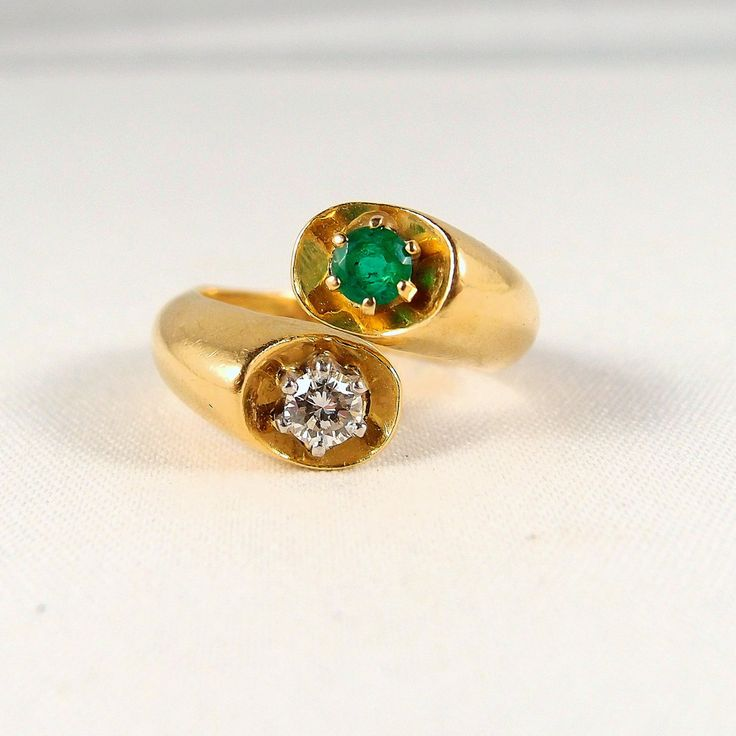 Beautiful crossover natural diamond and emerald ring, stamped 18K French gold and platinum bypass ring, fine bridal jewelry by MidwestArtObjects on Etsy