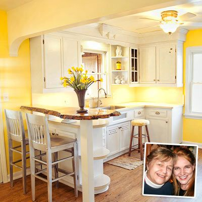 Yellow Kitchen With White Painted Cabinets After Remodel