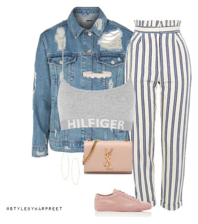 """Untitled #239"" by stylebyharpreet on Polyvore featuring Topshop, Tommy Hilfiger, Common Projects, Yves Saint Laurent and Lana"