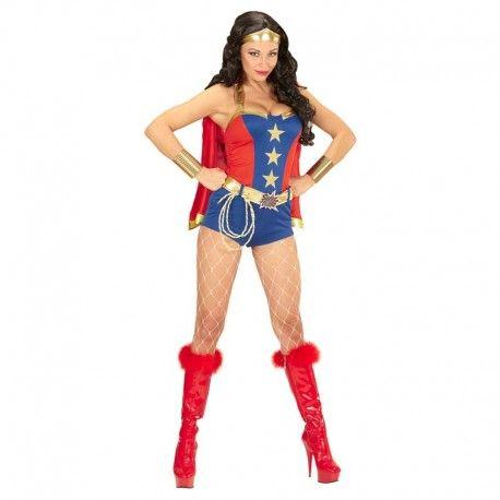 Disfraces Personajes mujer   Disfraz de super power girl. Compuesto de vestido, cinturón, capa roja y cinta para la cabeza. Talla M. 25,95€ #superpowergirl #supergirl #disfrazsuperpowergirl  #disfraz #superheroe #disfrazpersonaje #disfraces