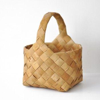Birch bark weaving basket