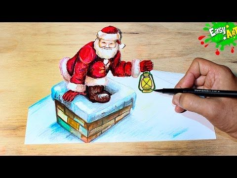 Santa Claus │How to Draw Santa Claus 3D │Como Dibujar a Papa Noel 3D YouTube
