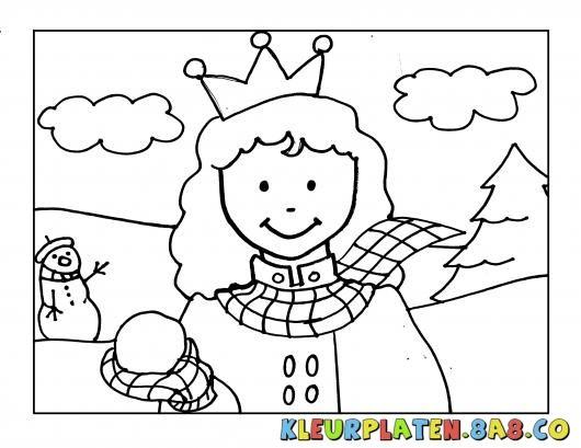 Schilderij prinses spelen in de sneeuw |  PRINCESSES | Coloring een prinsesje spelen in de sneeuw | kleurplaten.8a8.co