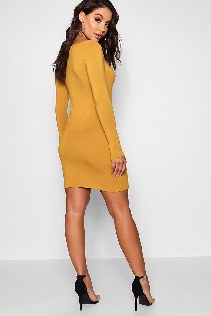 Long Sleeve Scoop Neck Bodycon Dress | Boohoo 1