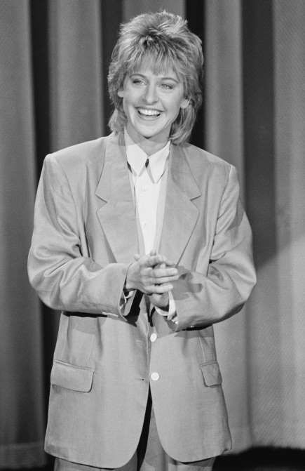 """Ellen DeGeneres' life in pictures  -  April 26, 2017:     Ellen DeGeneres began performing stand-up comedy in 1981 when she was 23. She started at a local coffeehouse and got her big break five years later in 1986 when a booking agent from """"The Tonight Show starring Johnny Carson"""" checked out her act at the Improv in Hollywood, California, after getting a tip from comedian Jay Leno.   MORE..."""