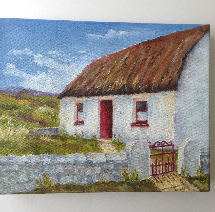 Original Art Oil Of Irish Cottage Small Format Ireland 8 X 10 Painting