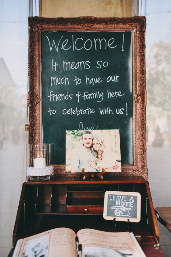 Welcome chalkboard and guestbook. Captured By: Lauren Scotti Photography --- http://www.weddingchicks.com/2014/06/06/shabby-chic-plaza-wedding/