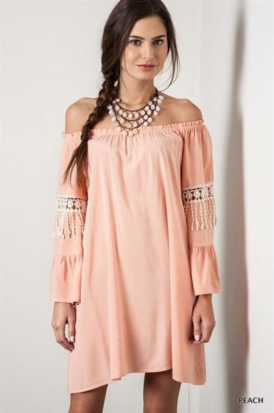 *** Off Shoulder Bell Sleeve *** Solid off shoulder, loose fitting dress with bell sleeves and mid crochet detail with fringe.