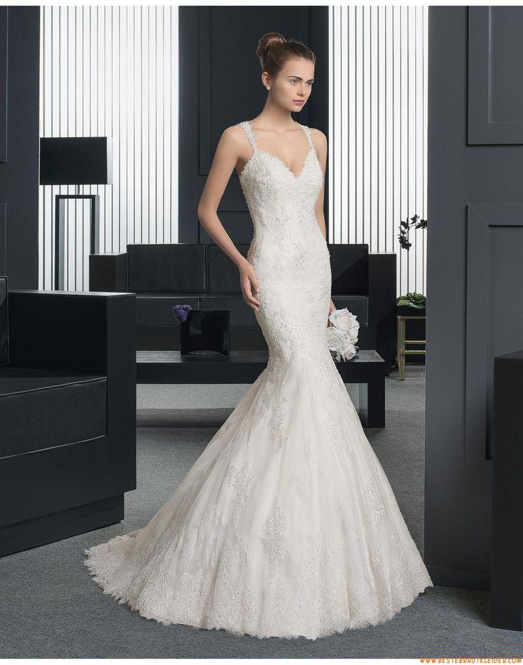 2015 Meerjungfrau Glamouröse Moderne Brautkleider aus Softnetz mit Applikation