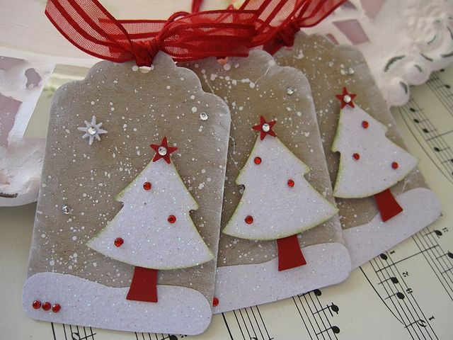 handmade Christmas tags .... white glitter paper Christmas Tree Tags on kraft ... like the snow effects ...