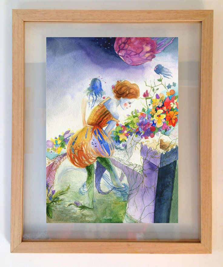 Original watercolour surrealistic painting of a woman and jellyfish.