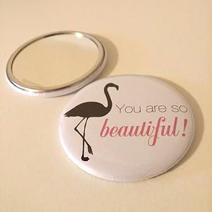"""Did these custom 2.25"""" Pocket mirrors for Beautiful Being Box.  ---- Grab yourself a Beautiful Being Box -and check out what else is included in it!  beautifulbeingbox.com  #Custom #badges #buttons #pocketmirrors #madeincanada #beautiful #etsy"""