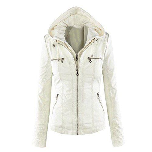 Susanny Women's Slim Hooded Faux Leather PU Short Motorcycle Jacket Coat XXS Beige $32.99