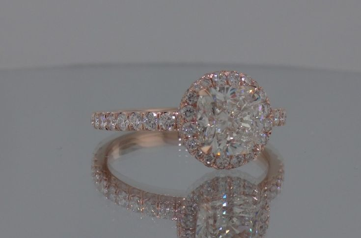 """Josh Levkoff - Collection, Rings - Cushion Cut Diamond set in 14K Rose Gold with Round """"Head"""" with 2 Halos MicroPave on Band   Josh Levkoff"""