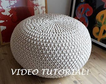 KNITTING PATTERN Video Tutorial Knitted Pouf Pattern Poof Knitting Ottoman Footstool Home Decor Pillow Bean Bag