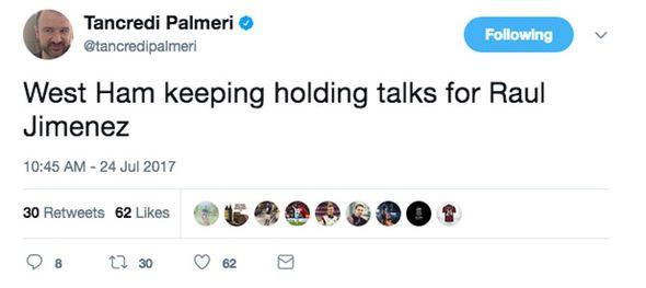 West Ham transfer news: Hammers are in talks for Raul Jimenez - Tancredi Palmeri - http://buzznews.co.uk/west-ham-transfer-news-hammers-are-in-talks-for-raul-jimenez-tancredi-palmeri -