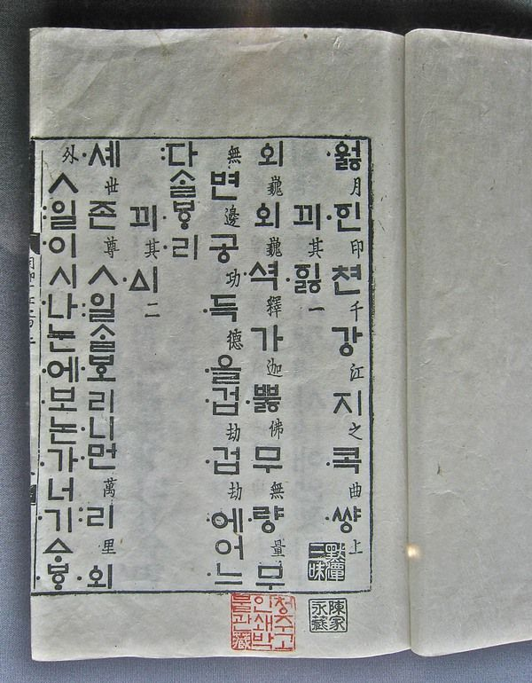 First printed Hangul type (1447) | Photo by Martin Majoor