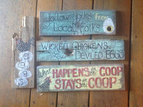 Awesome chicken coop signs, must haves for backyard poultry on Etsy, $17.00-love the top one!