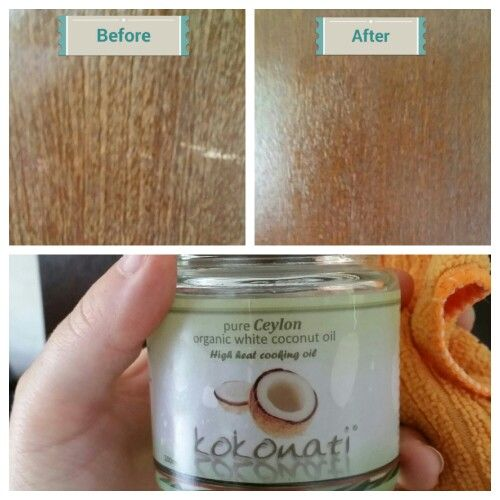 100% coconut oil is an awesome wood polish that does not leave a horrible residue or unpleasant smell. Best of all it's incredibly cheap. All you do is rub it on and buff it in :-)