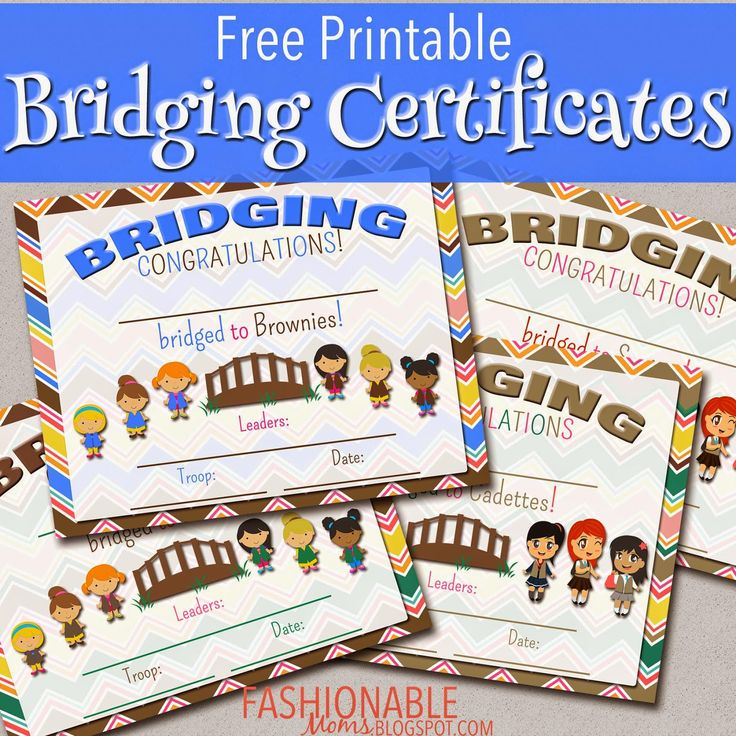 Free Printable Bridging Certificates