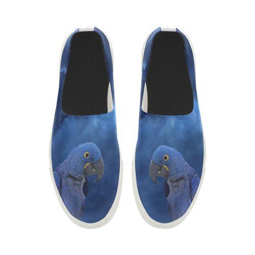 Hyacinth Macaw Apus Slip-on Microfiber Women's Shoes(Model 021)