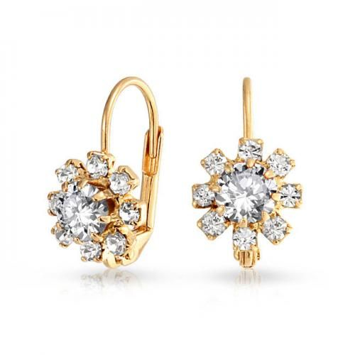 Gold Filled Clear Flower April Birthstone Leverback Earrings