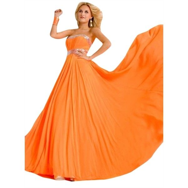 Pre-owned Party Time Formals Neon Orange New Prom 6018 Dress ($181) ❤ liked on Polyvore featuring dresses, neon orange, formal party dresses, party dresses, orange dress, going out dresses and neon party dresses