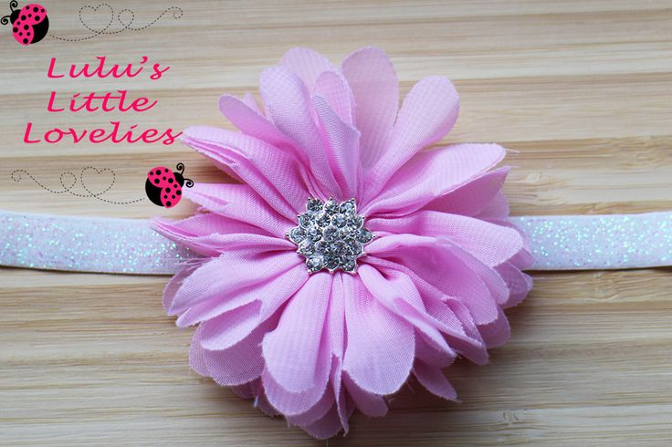 Pink Ballerina Flower with Rhinestone Center on white Sparkle Glitter FOE Headband Flower Newborn - Adult Photoshoot Birthday Wedding by CLulusLittleLovelies on Etsy