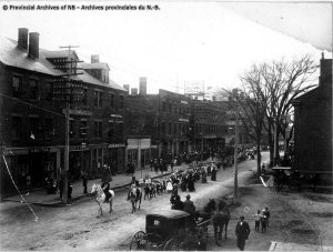 Parade on upper Queen Street, Fredericton, n.d.  [H.F. Albright] - Provinical Archives of New Brunswick P132 York Sunbury Historical Society II Collection  #122