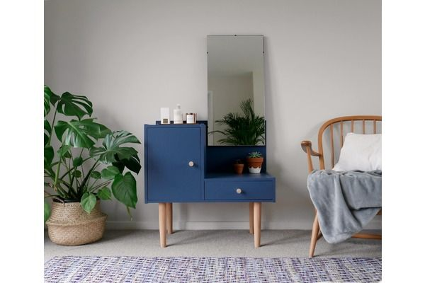 #MidCentury #Vintage Dressing Table With Removable Mirror, Painted Navy >>