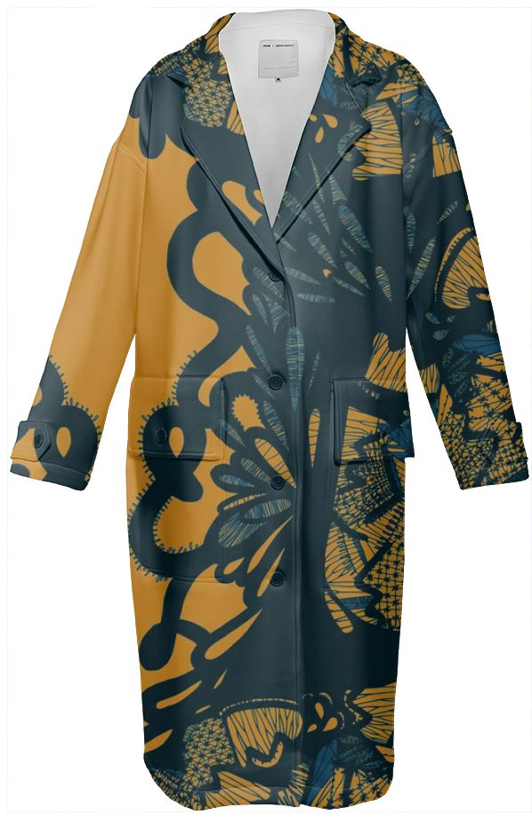modern lace neoprene digitally printed trench coat by ralucaag. Available on #PAOM.com