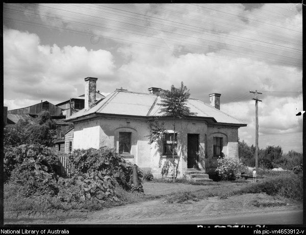 Toll House, Bridge Street, Windsor, New South Wales, ca. 1935. The Toll House is now far below street level, and difficult to see, so it's nice to see it from this view in an early photo.