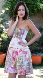 Creamy Floral Tube Top Dress