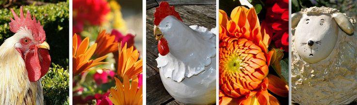 Keramikhühner, jedes Huhn ein handgetöpfertes Unikat. Hahn und Henne nicht nur zu Ostern, für den Landhausstil im Garten, frostsichere Tierfiguren