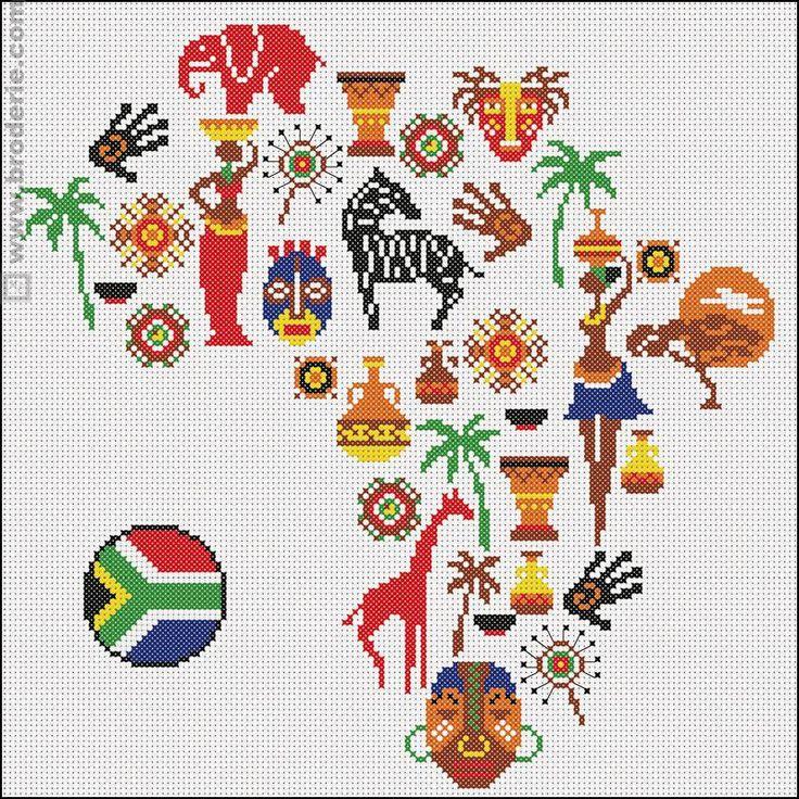 0 point de croix carte d'afrique et africaines - cross stitch africa map and african women