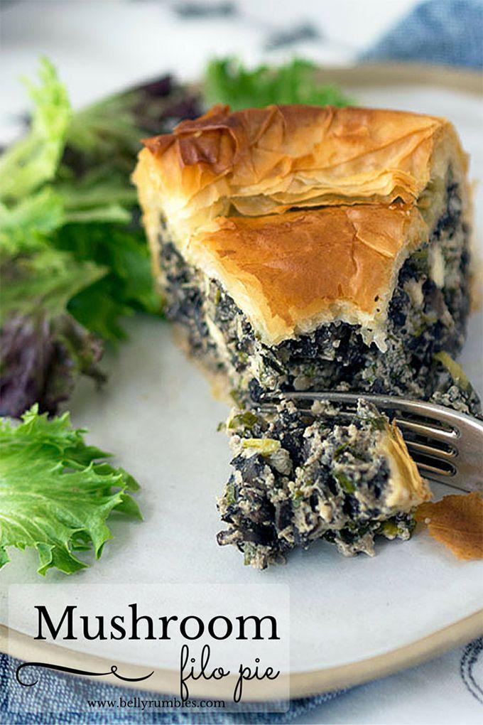 Greek style Mushroom Filo Pie, inspired by spanakopita | www.bellyrumbles.com