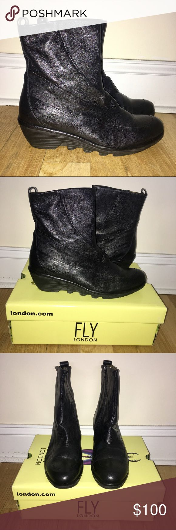 """Fly London Boots Fly London """"Pilz"""" boots. Mid-calf height. Round toe. Slim wedge heel. Full grain genuine leather upper. Lined with soft canvas. Man-made sole with textures thread. Excellent condition. Size EU 41. Fly London Shoes"""