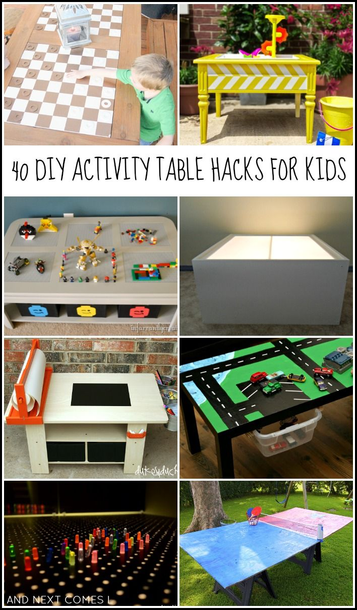 40 DIY activity table hacks for kids, including LEGO tables, light tables, art tables, & more! from And Next Comes L