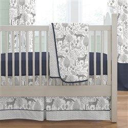 Navy and Gray Woodland 3-Piece Crib Bedding Set