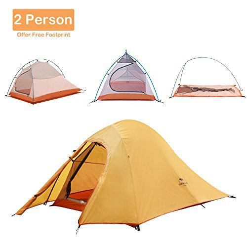 Best Camping Tents  | Topnaca 1 2 3 Person 4 Seasons Double Layer Backpacking Tent Ultralight Aluminum Rod AntiUV Windproof Waterproof Lightweight with Free Groudsheet for Camping Hiking Travel Hunting Orange2 PersonTopnaca 1 2 3 Person 4 Seasons Double L