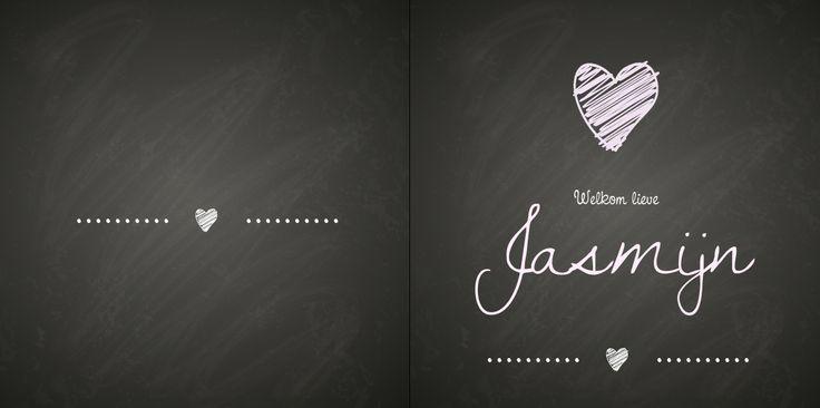 Geboortekaartje: Eenvoudig met krijtbord achtergrond - voorkant